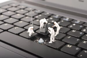 Cybersecurity on a laptop